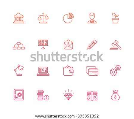 Outline Bank Icons - stock vector