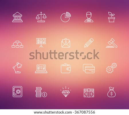 Outline bank icons on blurred background. - stock vector