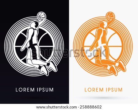 Outline Basketball Player jumps to dunk on basketball ball and cycle background, logo, symbol, icon, graphic, vector. - stock vector