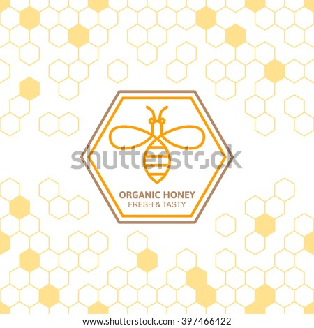 Outline bee vector symbol and seamless background with honeycombs. Organic honey linear logo, label, tags design elements. Concept for honey package, banner, wrapping. Abstract food background.  - stock vector