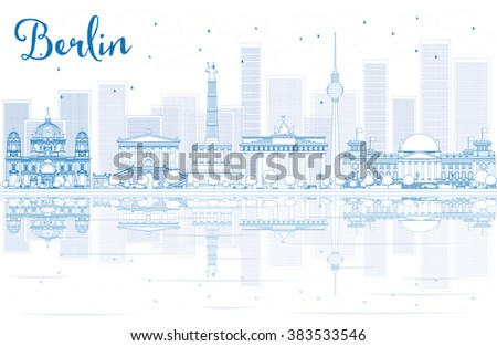 Outline Berlin skyline with blue buildings and reflections. Vector illustration. Business travel and tourism concept with place for text. Image for presentation, banner, placard and web site. - stock vector