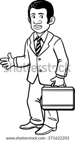 Outline Black Businessman with the case