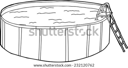 Father Daughter Swimming Isolated Swimming Pool Stock Vector