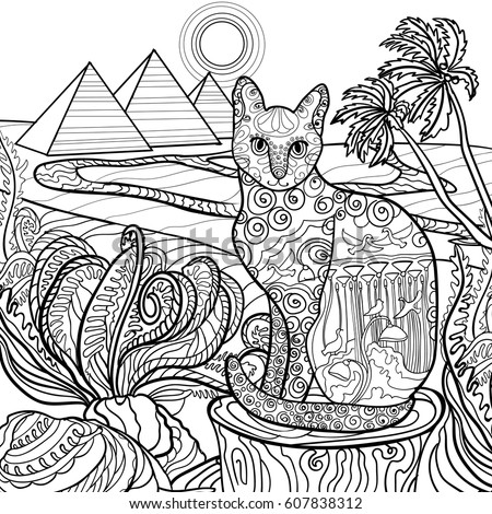 Bastet stock images royalty free images vectors Coloring book for adults egypt