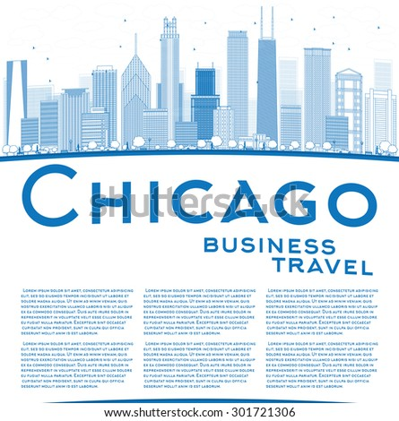 Outline Chicago city skyline with blue skyscrapers and copy space. Business travel concept. Vector illustration. Business and tourism concept with place for text. Image for presentation or banner - stock vector