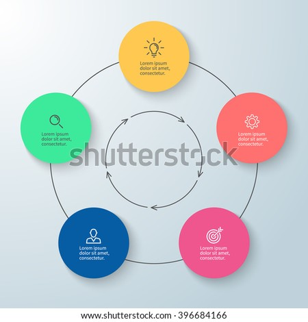 Outline circular infographic. Minimalistic design. Diagram, chart, graph with 5 steps, options, parts, processes with arrows. Vector design element. - stock vector