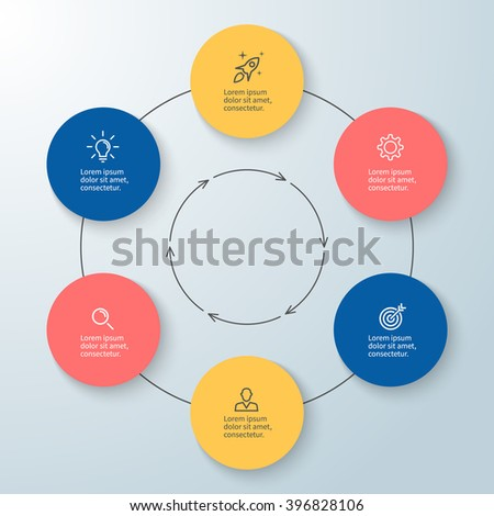 Outline circular infographic. Minimalistic design. Diagram, chart, graph with 6 steps, options, parts, processes with arrows. Vector design element. - stock vector
