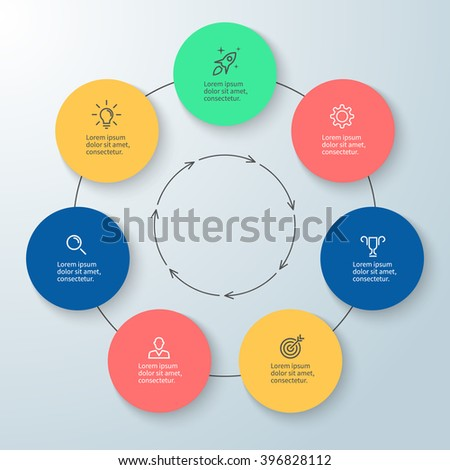 Outline circular infographic. Minimalistic design. Diagram, chart, graph with 7 steps, options, parts, processes with arrows. Vector design element. - stock vector
