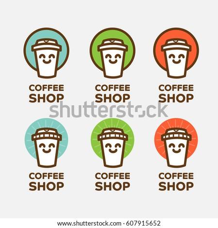 Outline Coffee Cup Logo Template Vector Stock Vector 607915652 ...