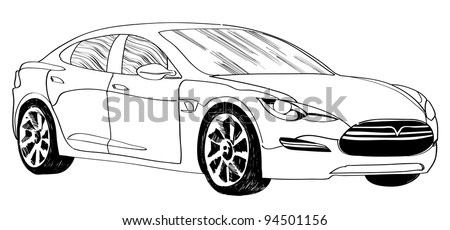 Outline comics-style car - stock vector
