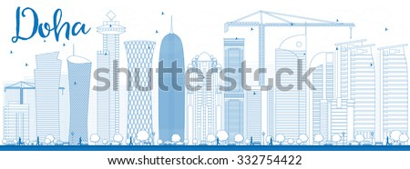 Outline Doha skyline with blue skyscrapers. Vector illustration. Business and tourism concept with skyscrapers. Image for presentation, banner, placard or web site - stock vector