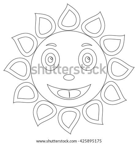 Outline Drawing Sun Coloring Book Cartoon Stock Vector 425895175 ...