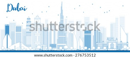 Outline Dubai City skyline with blue skyscrapers. Vector illustration - stock vector