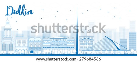 Outline Dublin Skyline with Blue Buildings, Ireland. Vector Illustration. Business travel and tourism concept with historic buildings. Image for presentation, banner, placard and web site. - stock vector
