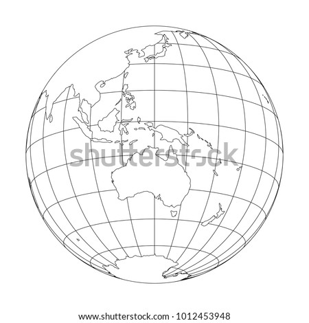 Beautiful Outline Earth Globe With Map Of World Focused On Australia And Oceania.  Vector Illustration.