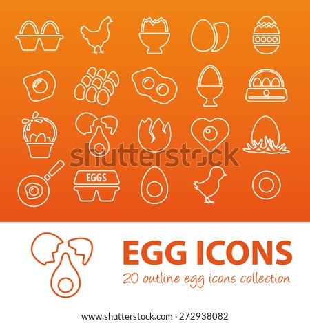 outline egg icons - stock vector