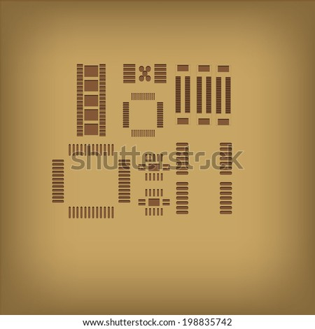 Outline electronic Component, Vector Background - stock vector