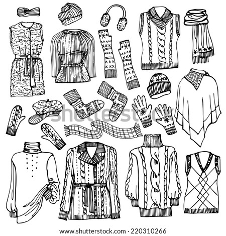 Outline Fashionable female knitted  clothing and accessories set on Sketchy style.W Autumn ,winter woman wear.Fashion illustrations.Vector. - stock vector