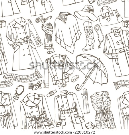 Outline Fashionable female outerwear and accessories seamless pattern on Sketchy style.Woman Autumn ,winter,spring wear in outline sketch.For fabric,background,backdrop,Wallpaper.Fashion Vector. - stock vector