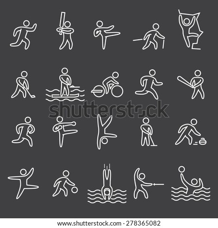 Outline figures athletes. Icons of people popular sports. Linear vector set. Running, cricket, hockey, baseball, rugby, kickboxing, acrobatics, dance, basketball and other. - stock vector