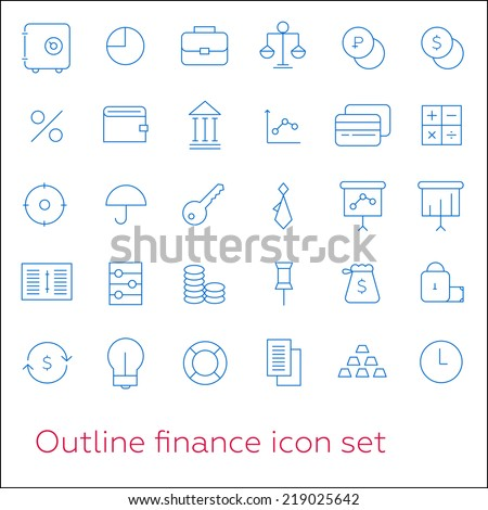 Outline finance icon set with lock, key and clock - stock vector