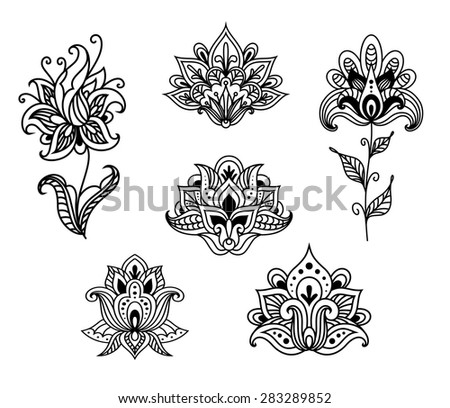 Outline floral paisley design elements set for ornament or fabric design in vintage persian style - stock vector