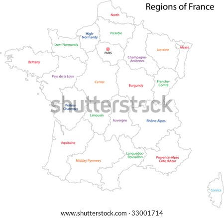 Outline France map with regions - stock vector