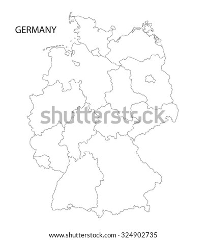 Outline Germany Map All Federal States Stock Vector - Outline map of germany with states