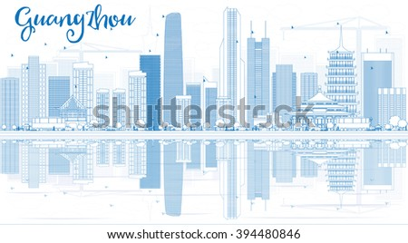 Outline Guangzhou Skyline with Blue Buildings and Reflections. Vector Illustration. Business Travel and Tourism Concept with Modern Buildings. Image for Presentation Banner Placard and Web Site. - stock vector