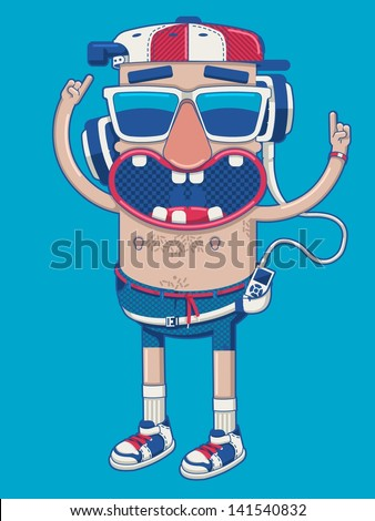 Outline guy dancing with headphones, vector background - stock vector