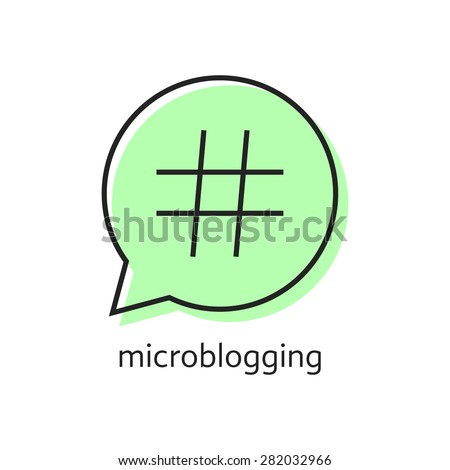 outline hashtag icon in green speech bubble. concept of pr, popularity, speak, promote, blog, microblogging. isolated on white background. flat style trend modern logotype design vector illustration - stock vector