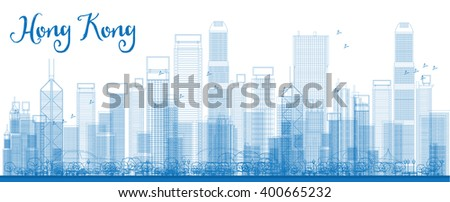 Outline Hong Kong skyline with blue skyscrapers and taxi. Vector illustration. Business travel and tourism concept with place for text. Image for presentation, banner, placard and web site. - stock vector