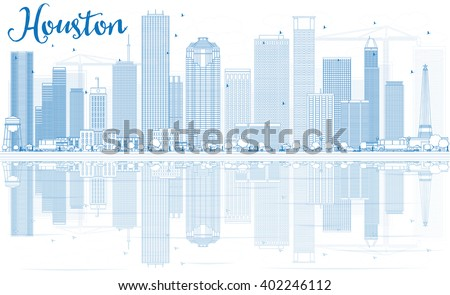 Outline Houston Skyline with Blue Buildings and Reflections. Vector Illustration. Business Travel and Tourism Concept with Modern Buildings. Image for Presentation Banner Placard and Web Site. - stock vector