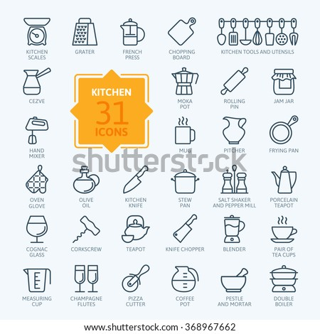 Outline icon collection - cooking, kitchen tools and utensils - stock vector