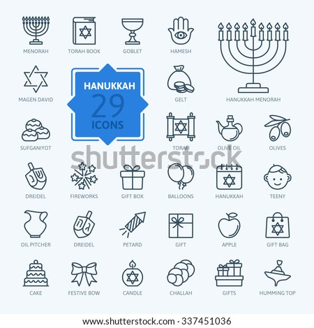 Outline icon collection - Symbols Of Hanukkah - stock vector