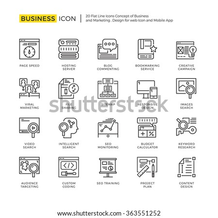 Outline Icon Set of Business Marketing,Online Marketing and Development. High Quality Outline Icon Design,Modern outline vector design for website and mobile app. - stock vector