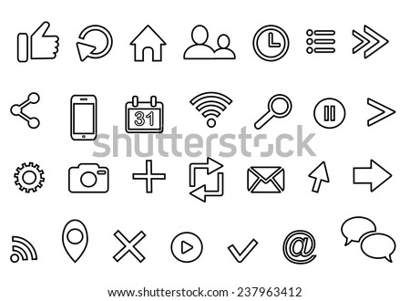 outline icons: clock arrow present calendar email geolocation cloud retweet bubble email rss photo facebook like play profile home location favorite cross  search cursor logo isolated on white - stock vector