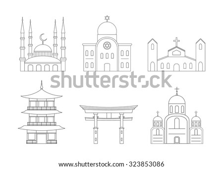 Outline Icons Set of Religion Buildings. Template for cover, schools, posters or your art works. - stock vector