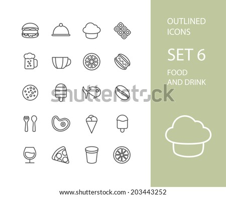 Outline icons thin flat design, modern line stroke style, web and mobile design element, objects and vector illustration icons set 6 - food and drink collection - stock vector