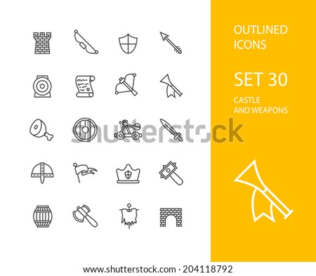 Outline icons thin flat design, modern line stroke style, web and mobile design element, objects and vector illustration icons  set 30 - castle and wepon collection - stock vector