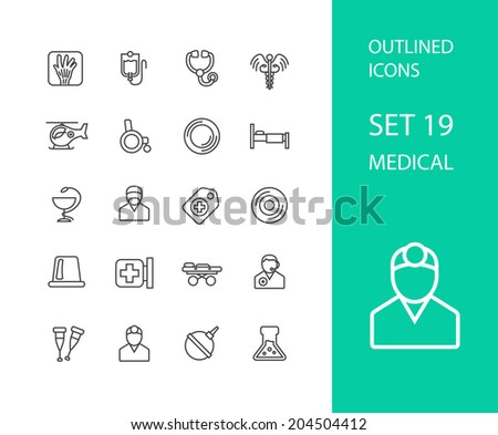 Outline icons thin flat design, modern line stroke style, web and mobile design element, objects and vector illustration icons set 19 - medical collection - stock vector