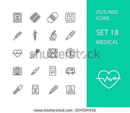 Outline icons thin flat design, modern line stroke style, web and mobile design element, objects and vector illustration icons set 18 - medical collection - stock vector