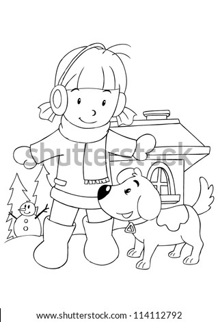 Outline illustration of a girl playing with dog - stock vector
