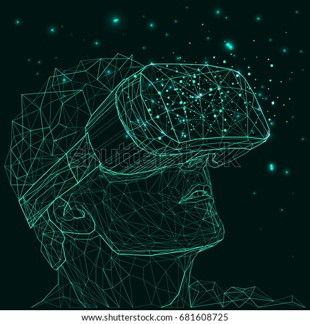 Outline Illustration Human Virtual Reality Glasses Stock Vector ...
