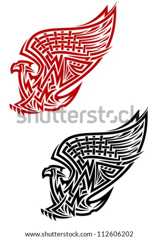 Outline illustration of an ornate flying bird with uplifted wings with an intricate geometric pattern, side view in two colours isolated on white. Jpeg version also available in gallery