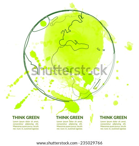 Outline illustration of Earth globe with green paint splash. Vector layout concept for ecology design of flyer, poster or presentation. - stock vector