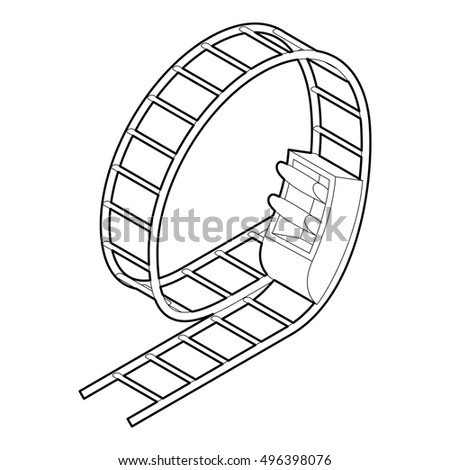 Outline illustration of rollercoaster vector icon for web