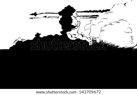 Outline illustration of three jet fighters flying over bombed city on fire with copy space