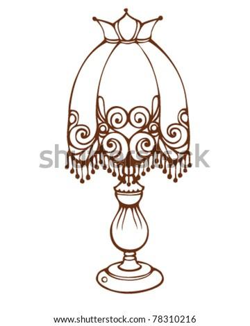 Outline illustration vintage table lamp isolated vectores en stock outline illustration vintage table lamp isolated on white aloadofball Choice Image
