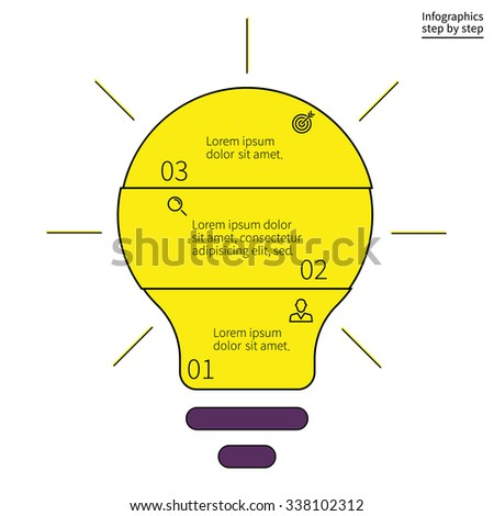 Outline infographics step by step in the form of light bulbs. Search ideas, creative process, brainstorm. Charts, diagrams with 3 steps, options, parts, processes. Vector template for presentation. - stock vector